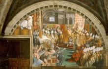Станца Пожар в Борго: Коронация Карла Великого Папой Львом III на Рождество 799 года - Рафаэль, Санти