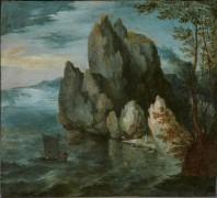 Прибрежный пейзаж с высокой скалой - Брейгель, Ян (Старший)