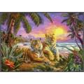 Тигры на фоне пейзажа