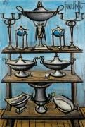 Серебряная посуда на стеллаже - Бюффе, Бернар