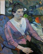 Женщина на фоне натюрморта Сезанна - Сезанн, Поль