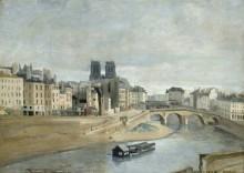 Городской пейзаж с рекой и мостом - Коро, Жан-Батист Камиль