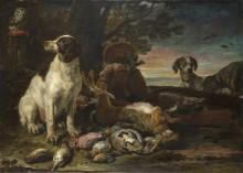 Битая дичь с собаками, совой и ружьем - Конинк, Давид де