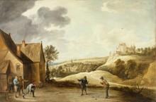 Пейзаж с крестьянами, играющими в шары во дворе таверны -  Тенирс, Давид