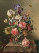 Букет цветов в стеклянной вазе - Фишер, Людвиг
