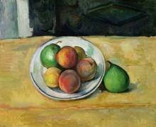 Натюрморт с персиками и двумя зелеными грушами - Сезанн, Поль