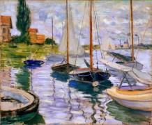 Парусные лодки на берегу Сены - Моне, Клод