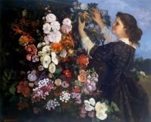 Женщина, закрепляющая цветы к решетке - Курбе, Гюстав