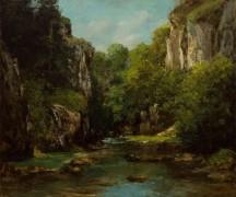 Пейзаж с ручьем в горном ущелье - Курбе, Гюстав