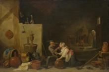 Старый крестьянский ласкает девушку на кухне -  Тенирс, Давид