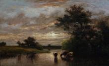 Речной пейзаж с коровами на закате - Дюпре, Жюль
