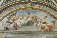 Станца делла Сеньятура: Кардинал и богословские добродетели (фрагмент) - Рафаэль, Санти