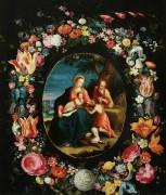 Святое Семейство с Иоанном Крестителем в обрамлении в виде венка из цветов - Брейгель, Ян (младший)