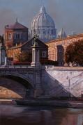 Пейзаж с видом на купол Собора святого Петра - Борелли, Гвидо (20 век)