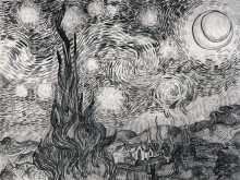 Звездная ночь (эскиз) (Starry Night (study)), 1889 - Гог, Винсент ван