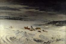 Карета в снегу - Курбе, Гюстав