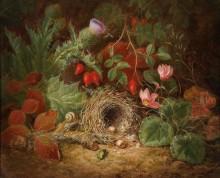 Натюрморт с птичьим гнездом, цикламенами, чертополохом и шиповником - Лауэр, Йозеф