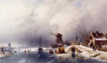 Фигуристы в зимнем пейзаже, Голландия - Лейкерт, Чарльз Генри Джозеф