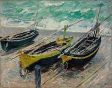 Три рыбацкие лодки на берегу моря - Моне, Клод
