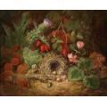 Натюрморт с цикламенами, чертополохом, шиповником и птичьим гнездом - Лауэр, Йозеф