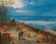 Панорамный пейзаж с торговцами и путниками - Брейгель, Ян (младший)