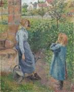 Женщина с ребенком у колодца - Писсарро, Камиль