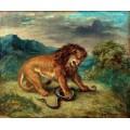 Лев и змея - Делакруа, Эжен