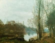 Рыбак на берегу пруда - Коро, Жан-Батист Камиль