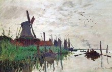 Ветряная мельница и рыбацкие лодки в окрестностях Зандама - Моне, Клод