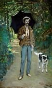Мужчина с зонтиком (Портрет Жакмона с его собакой) - Моне, Клод