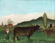 Пейзаж с коровами - Руссо, Анри
