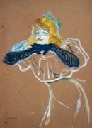 Певица Иветт Жильбер в момент исполнения песенки Linger, Longer, Loo - Тулуз-Лотрек, Анри де