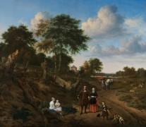 Портрет четы с двумя детьми и няней на фоне пейзажа - Велде, Адриан ван де