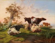Коровы на лугу - Купер, Томас Сидней