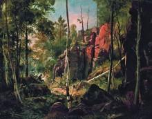 Вид на острове Валааме (Местность Кукко), 1859-1860 - Шишкин, Иван Иванович