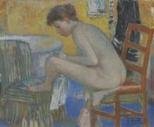 Евгения на красном стуле с халатом - Галл, Франсуа