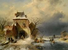 Зимний пейзаж с фигурами - Лейкерт, Шарль