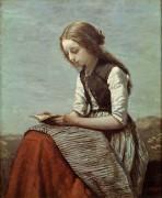 Читающая девушка - Коро, Жан-Батист Камиль