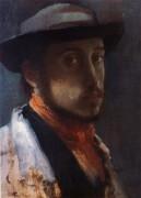 Автопортрет в мягкой шляпе, 1858 - Дега, Эдгар