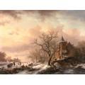 Зимний пейзаж с замком и конькобежцами - Круземан, Фредерик Маринус