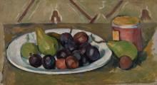 Тарелка с фруктами и банка консервов - Сезанн, Поль