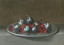Поднос с вишней и сливой, 1628 - Хамен, Хуан ван дер