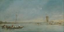 Вид на венецианскую лагуну с башни Mалгера - Гварди, Франческо