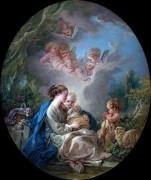 Мадонна с Младенцем, маленький Иоанн Креститель и ангелы - Буше, Франсуа