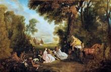Общество, собирающееся на охоту - Ватто, Жан Антуан