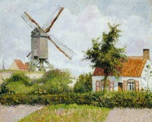 Ветряная мельница в Кнокке, Бельгия - Писсарро, Камиль