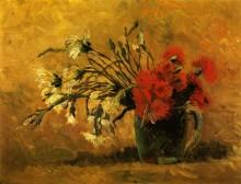 Ваза с красными и белыми гвоздиками на желтом фоне (Vase with Red and White Carnations on a Yellow Background), 1886 - Гог, Винсент ван