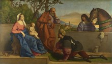 Воин поклоняющийся младенцу Христу и Деве - Катена, Винченцо