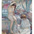 Сен-Тропе, мадам Лебаск и Марта возле фонтана, 1907 - Лебаск, Анри