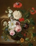 Цветочный натюрморт с пчелой - Схотел, Христина Петронелла